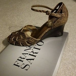 Franco Sarto snakeskin pattern wedges